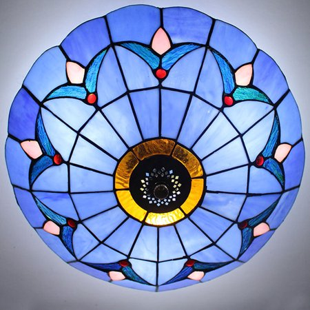 Vintage Stained Glass Flush Mount Ceiling Pendant Light Fixture