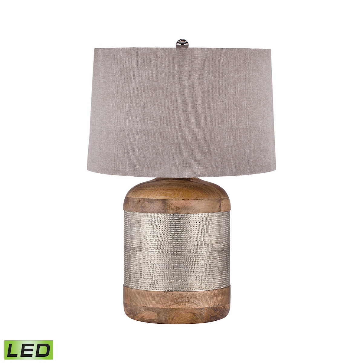 German Silver Drum Table Lamp - LED