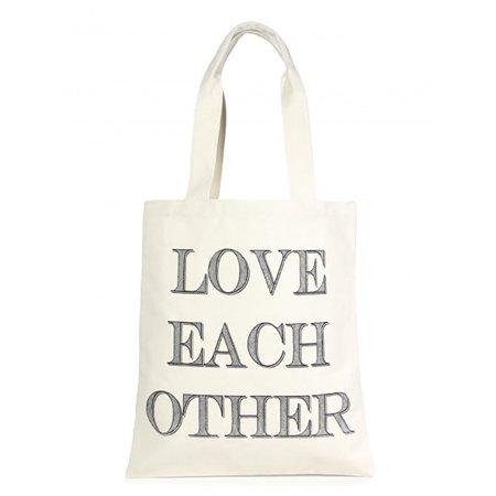 Amtal Oversize Love Each Other Design White Eco Friendly Cotton Multipurpose Bag