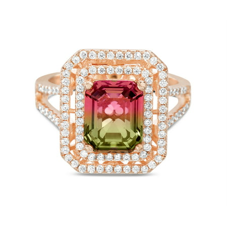 Inspired by You Emerald Cut Prong Set Simulated Watermelon Tourmaline and Round Cubic Zirconia Halo Cocktail Ring for Women in Rose Gold Plated 925 Sterling Silver Vintage Opal Cocktail Ring