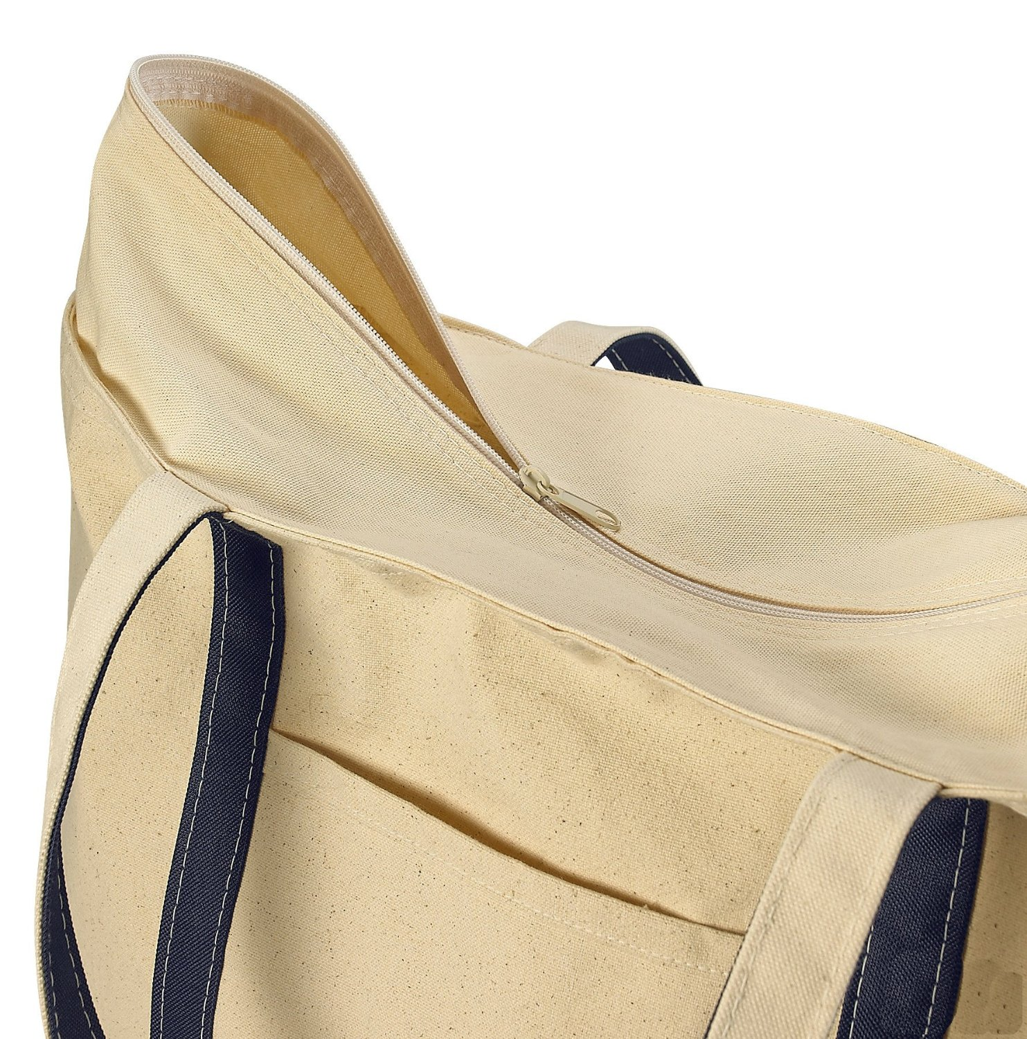 Zippered Canvas Tote Beach Bag, Navy Blue