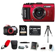 Olympus TG-4 16 MP Waterproof Digital Camera with 3-Inch LCD (Red) Bundle