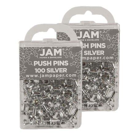 jam paper silver push pins 100 per box pack of 2 walmart com