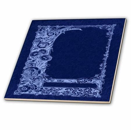 3dRose Monotone floral trellis design in negative on a cobalt blue damask background - Ceramic Tile, - Blue Toile Background