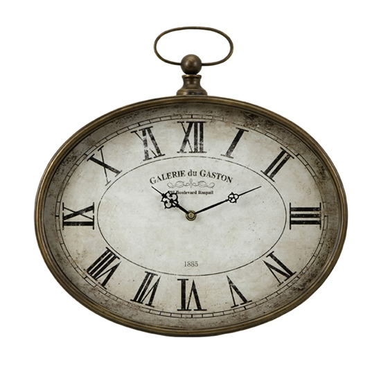 "16.25"" Distressed Antique-Style Oversized ""Pocket Watch"" Roman Numeral Wall Clock"