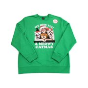 Womens We Hiss You A Meowy Christmas Cat Meowing Holiday Sweater Sweatshirt L