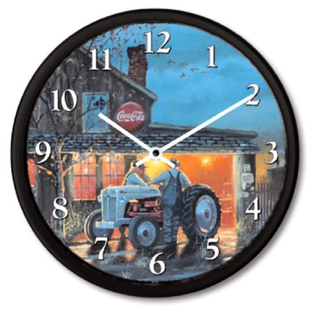 New Dave Barnhouse Illustrated Shop Talk Ford Tractor   Coca Cola Sign Wall Clock 10
