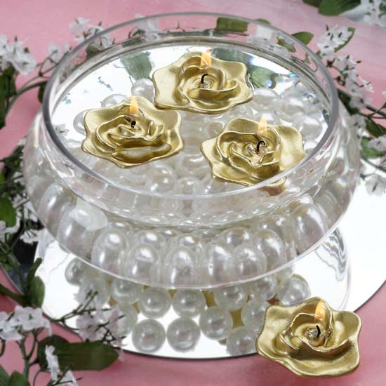 Efavormart Set of 4 Unscented Floating Rose Candle for Wedding Party Birthday Centerpieces Home Decorations Supplies