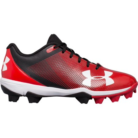 Under Armour Kids' Leadoff RM Baseball Cleats, Black/Red,