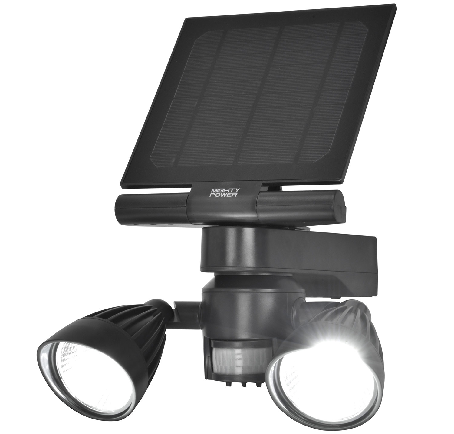 Mighty Power Outdoor Solar LED Security Flood Light, Black, 600 Lumens