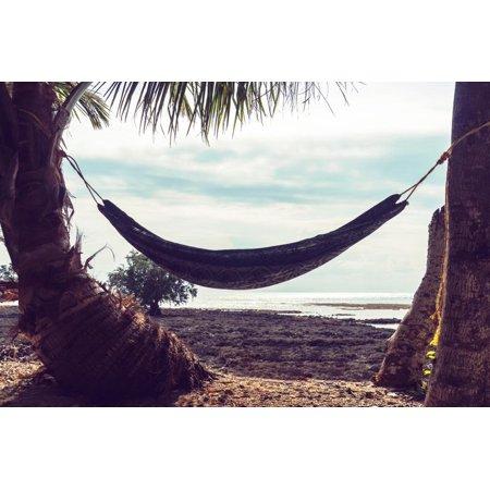 - Hammock between Palm Trees on Beautiful Tropical Beach. Tinted Retro Photo. Neil Island, Andaman An Print Wall Art By diy13