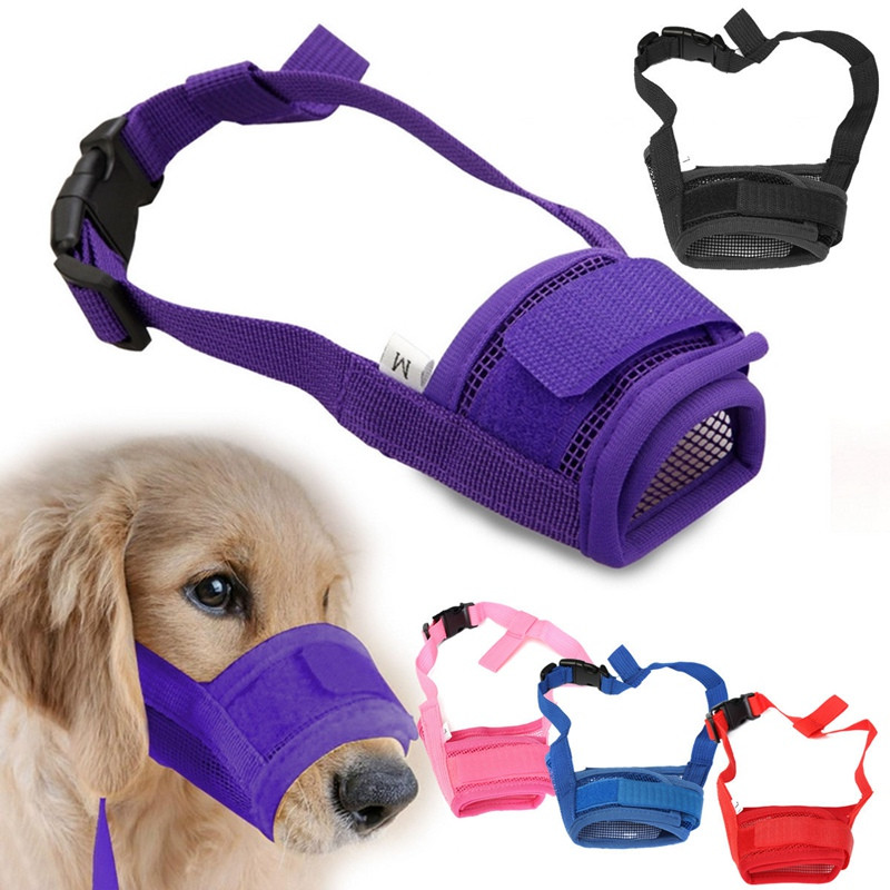 S-XL Adjustable Pet Dog Breathable Mesh Muzzle Mouth Mask Anti Bark Chewing Barking Dog Collars & Leashes