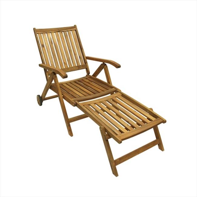 NorthLight 54. 5 inch Acacia Wood Outdoor Patio Furniture Sun Lounger Chair