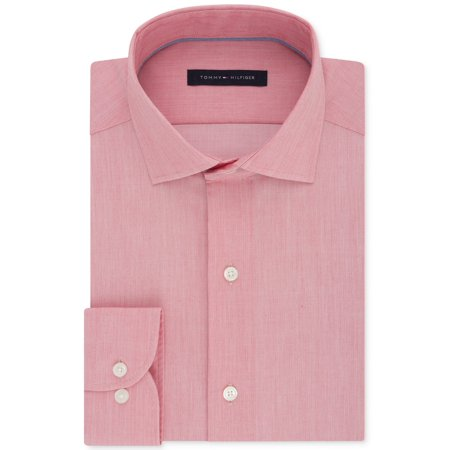 Tommy Hilfiger Men's Classic/Regular Fit Non-Iron Performance Stretch Solid Dress Shirt (Rouge, 17)