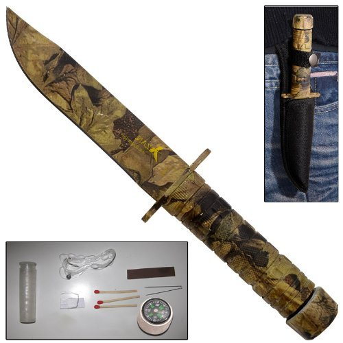 Little Giant Military Survival Kit Compass Clip Point Blade Knife-Woodland Camo