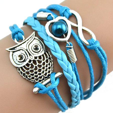 Mosunx Infinity Owl Pearl Friendship Multilayer Charm Leather Bracelets Gift for $<!---->