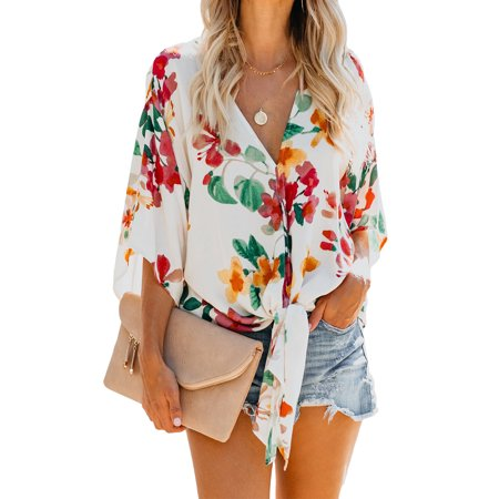 Floral Print Empire Tie Top - Womens Floral Blouses V Neck Tie Front 3 4 Sleeve Print Loose Tops Shirts Chic