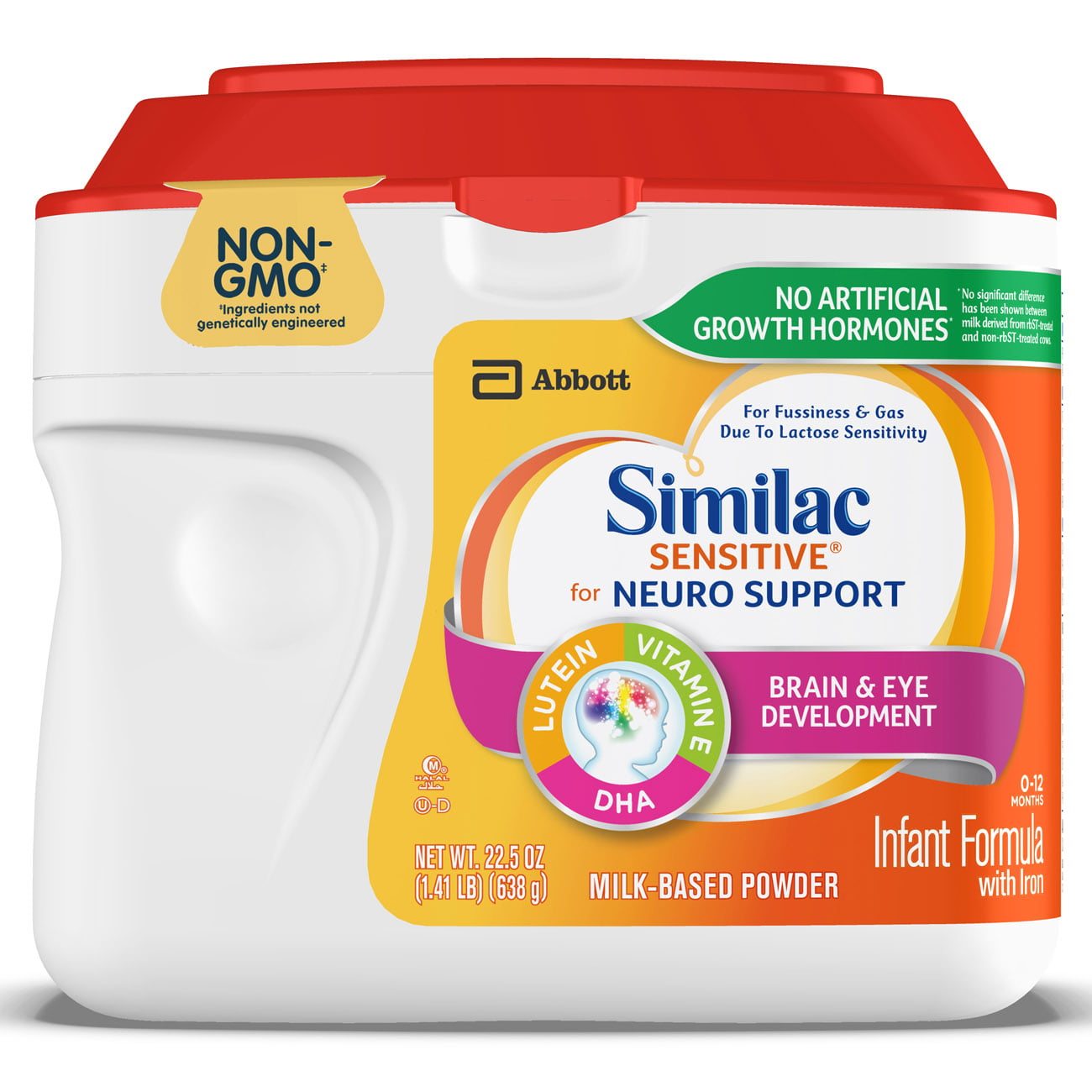 Similac Sensitive for Neuro Support Infant Formula with Iron Baby Formula 1.41 lb Canisters (Pack of 6) by Similac
