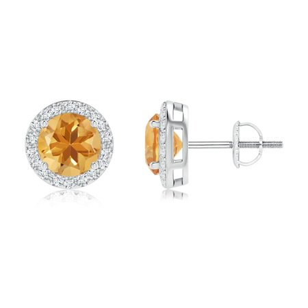 November Birthstone Earrings - 1 4 carats Round Brilliant Citrine Stud  Earrings with Diamond Accent in 14K White Gold - SE0862CTD-WG-A-6