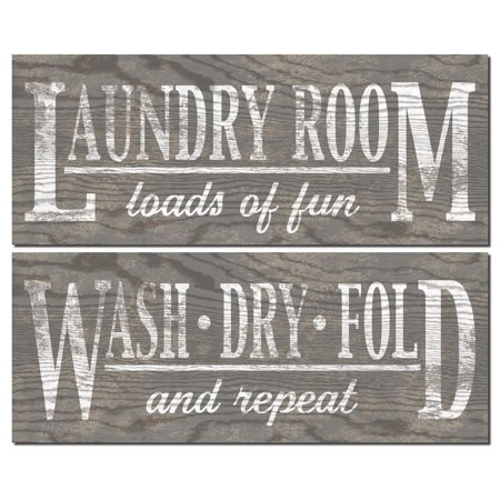 Gango Home Decor Classic Gray Laundry Room Wall Art Signs On Wood Style Background By N Harbick Two Gray 18x6in Unframed Paper Prints Paper Only
