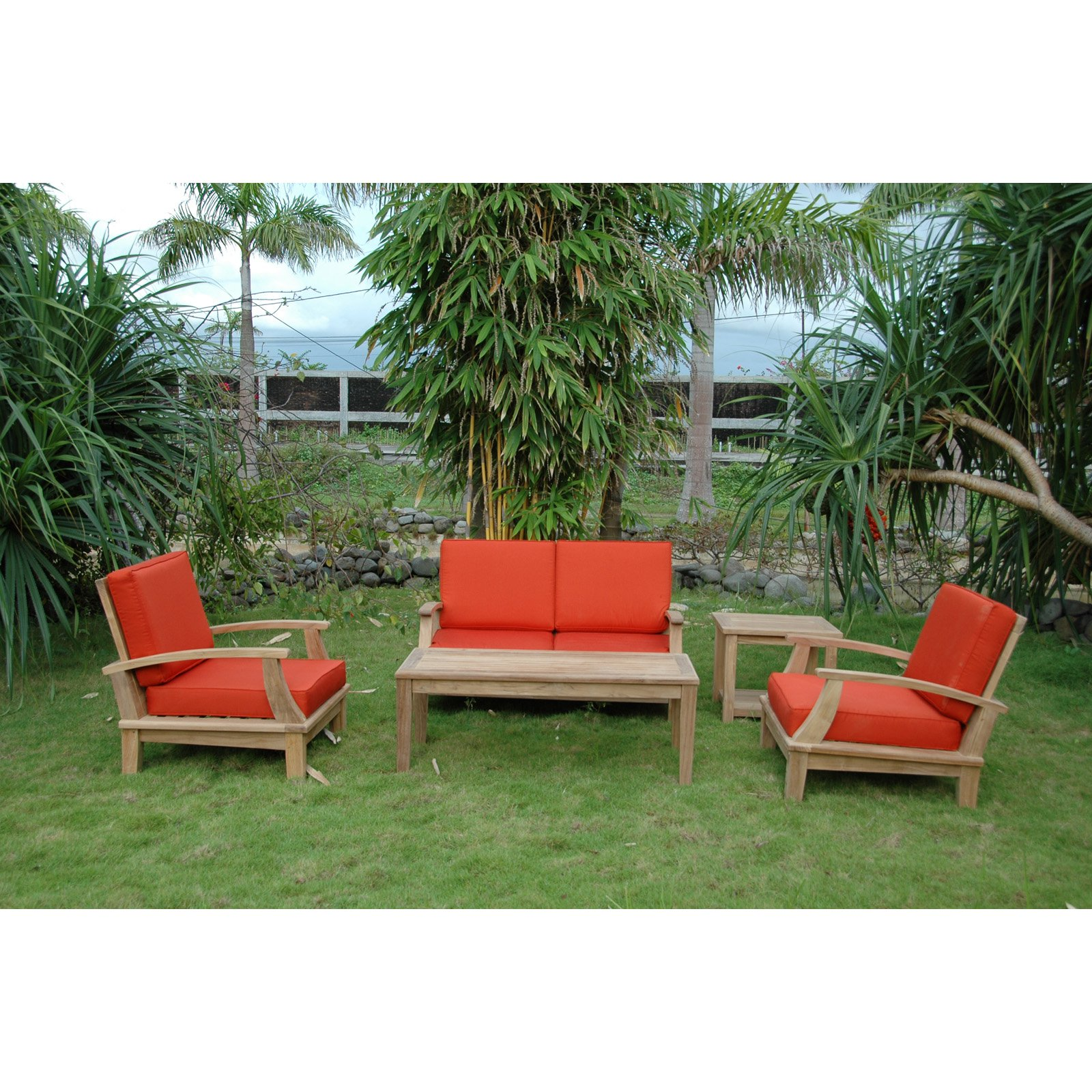 Anderson Teak Brianna Wooden 5 Piece Loveseat Patio Conversation Set