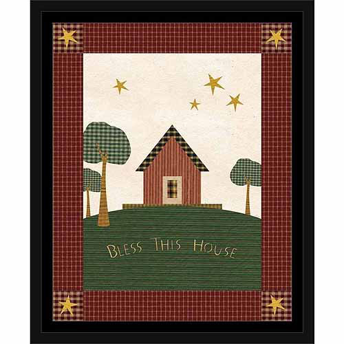 Americana Fabric Folk Patchwork Star Primitive Homestead Landscape Painting Red & Green, Framed Canvas Art by Pied Piper Creative