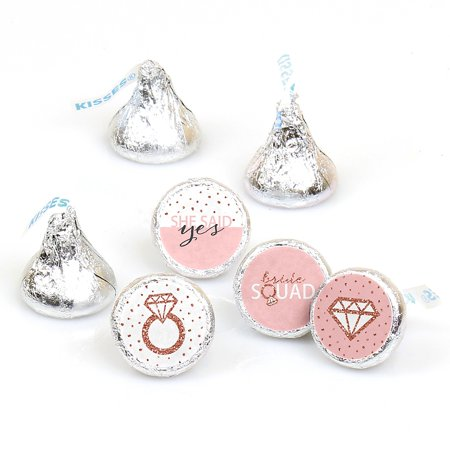 Bride Squad - Rose Gold Bridal Shower or Bachelorette Party Round Candy Sticker Favors - Labels Fit Hershey's Kisses (1 Sheet of 108)  - Bachlorette Favors