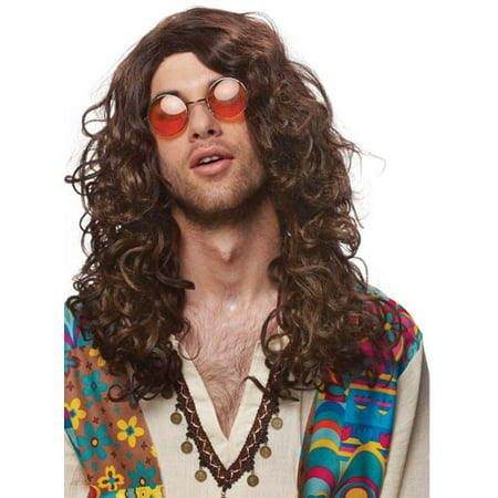 Hippie Rock Star Jim Morrison Adult Mens Costume Wig - Cheap Men Wigs