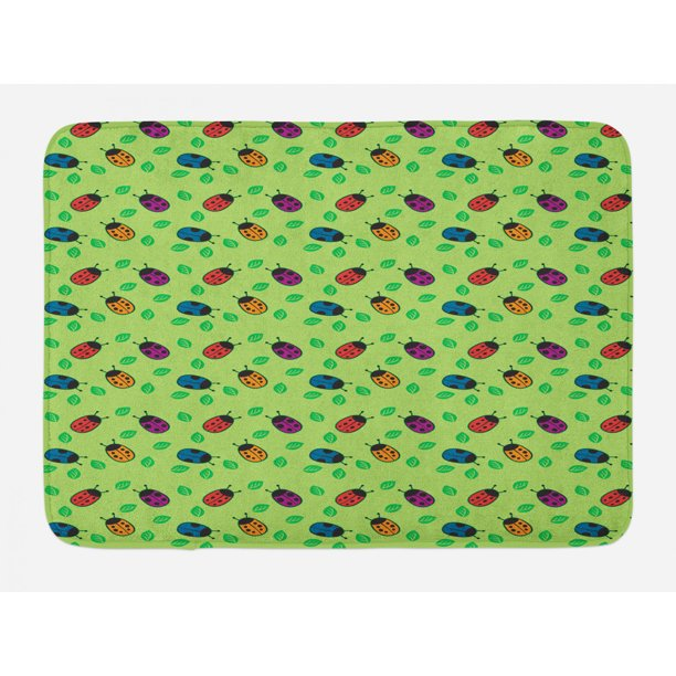 Ladybug Bath Mat Little Bugs For Luck Wish Totem Leaves Nature Eco Girls Plush Bathroom Decor Mat With Non Slip Backing 29 5 X 17 5 Multicolor By Ambesonne Walmart Com Walmart Com