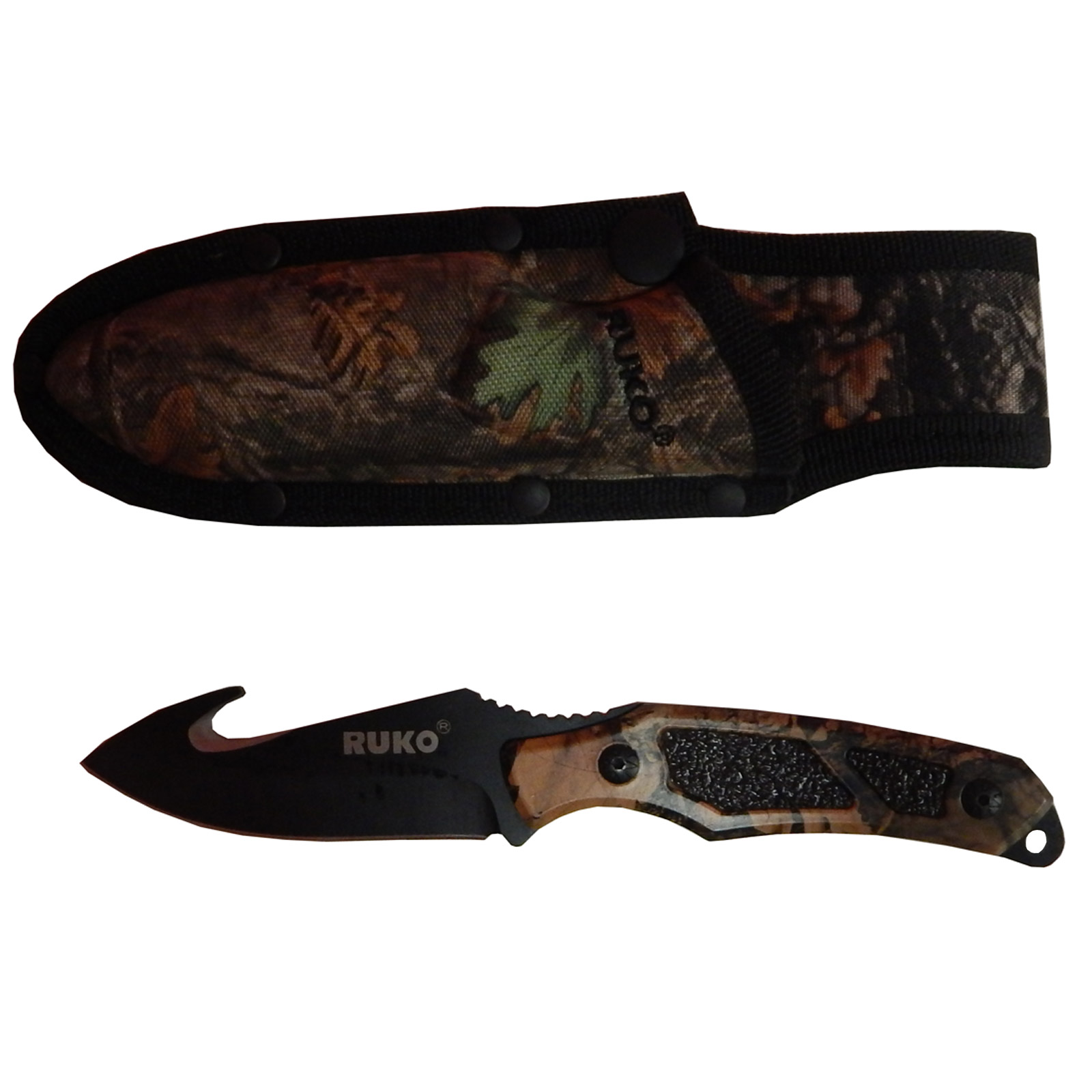 "Ruko Outfitter 3.5"" Gut Hook Skinning Knife WX-3D Camo With Sheath, RUK0155"