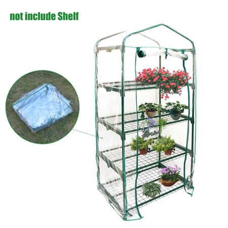 61x27x13in 4-Tier Mini Greenhouse Cover and Roll-Up Zipper Door - Green