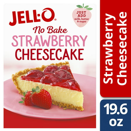 (3 Pack) Jell-O No Bake Strawberry Cheesecake Mix, 19.6 oz Box