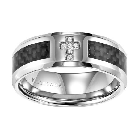 Jonas Diamond Accent Stainless Steel Cross Band, 8mm