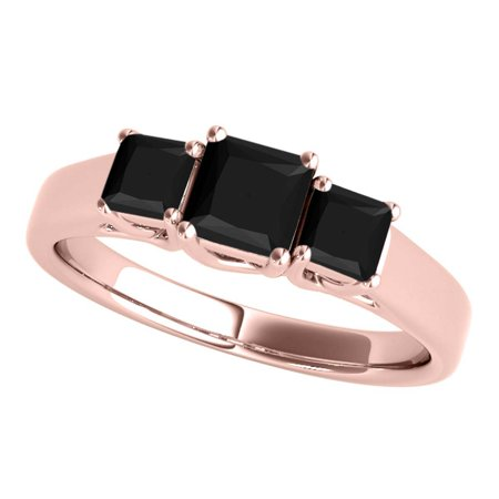 1 Carats Black Princess Cut Brilliant Diamond Ring 10K Solid Rose Gold (Brilliant Cut Rose Gold Ring)