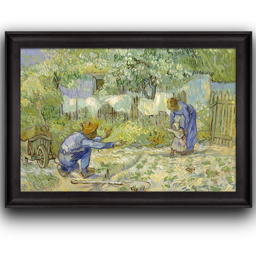 wall26 - First Steps by Vincent Van Gogh - Oil Painting, Impressionist, Artist - Framed Art Prints, Home Decor - 16x24 inches