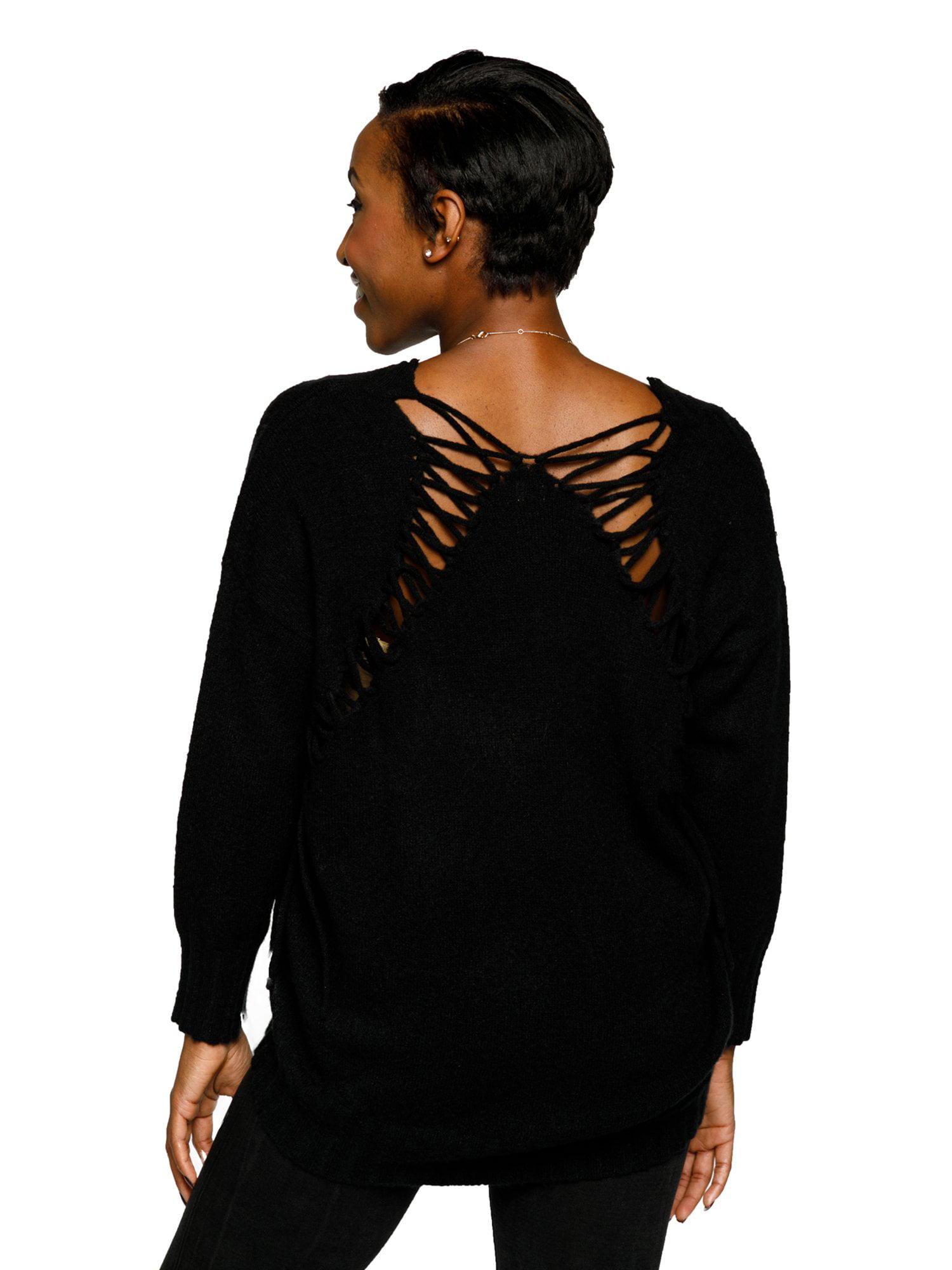 1915256d17 Xehar Women s Stylish V-Neck Pullover Lace Up Back Knit Sweater ...