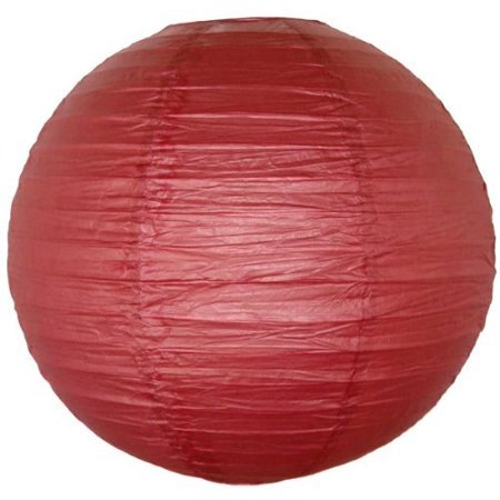 M.V. Trading LNT8ER-MV Colorful Chinese/Japanese Round Paper Lanterns with Metal Frame, 8-Inches, Burgundy Red
