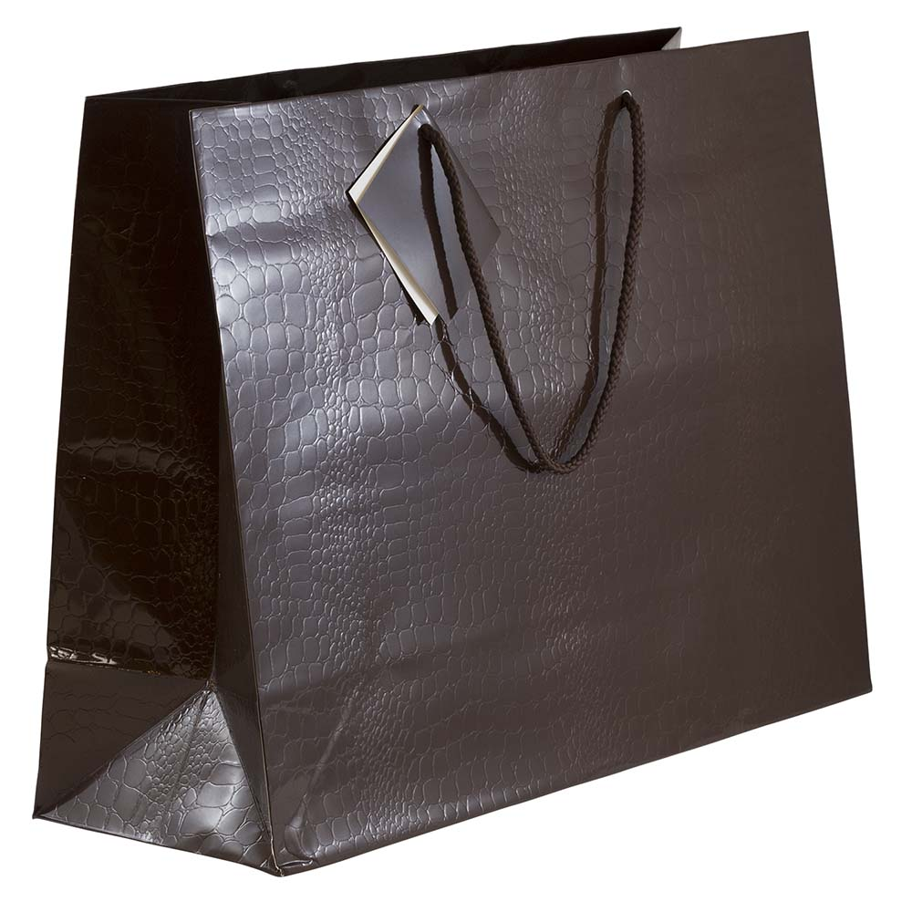 "JAM Paper Alligator Texture Glossy Gift Bags with Rope Handle, X-Large Horizontal, 17"" x 13"" x 6"", Chocolate Brown, Sold Individually"
