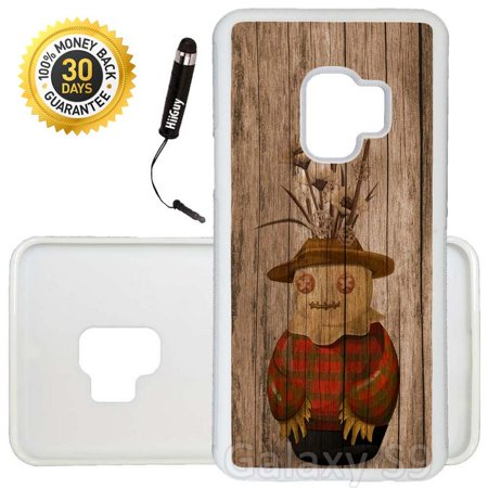 Custom Galaxy S9 Case (Cute Scarecrow On Wood) Edge-to-Edge Rubber White Cover Ultra Slim | Lightweight | Includes Stylus Pen by Innosub - Cute Scarecrow