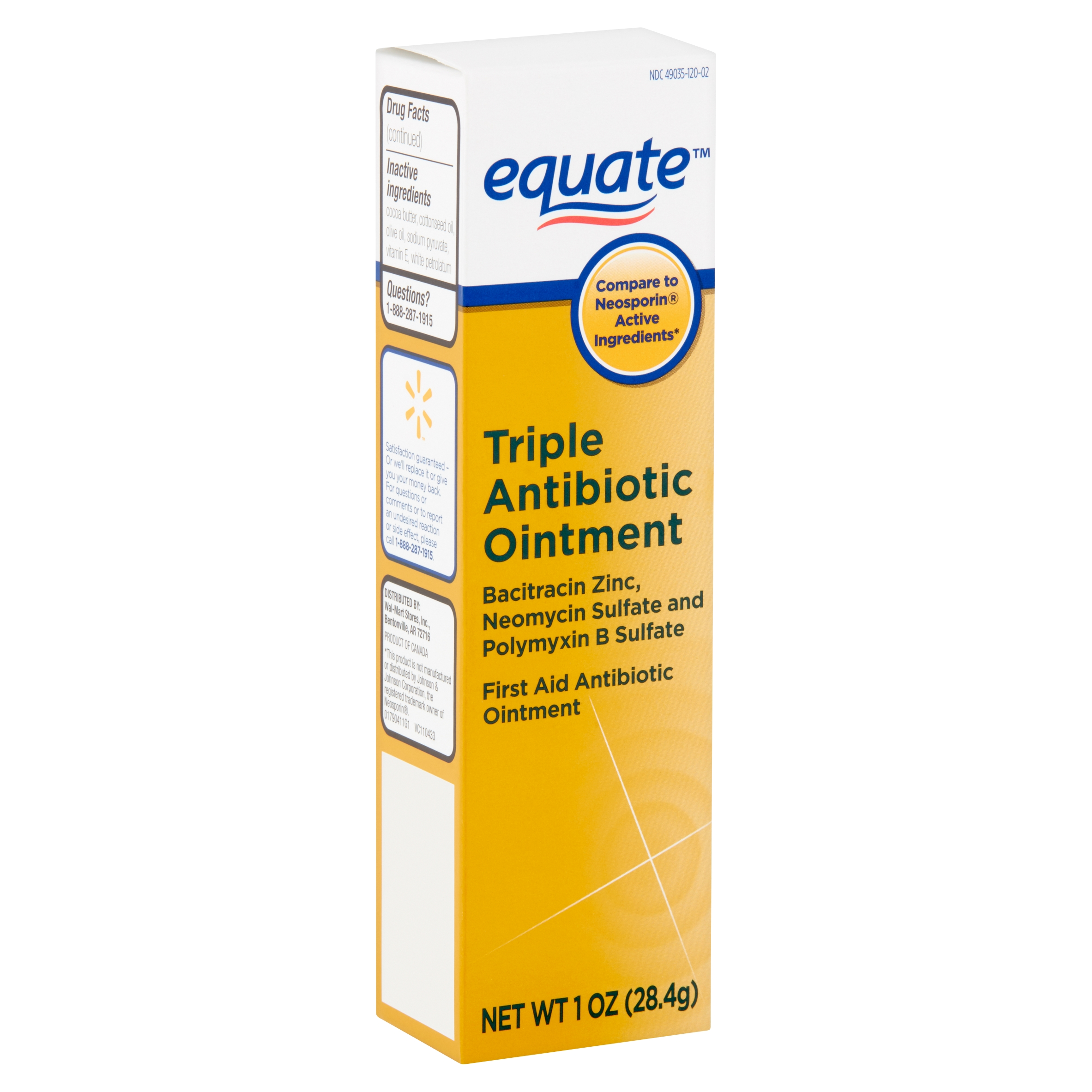 Equate Triple First Aid Antibiotic Ointment, 1 oz