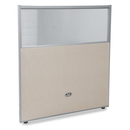 PG4737-GF-BV Office Furniture Rize Series 47 Inch x 37 Inch Gray Frame Base Polycarbonate Beige Vinyl Panel 47 Chest 37 Sleeve