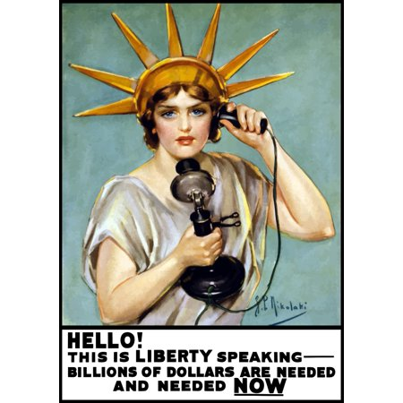Vintage World War I poster of the Statue of Liberty talking on the telephone Canvas Art - John ParrotStocktrek Images (24 x 34)