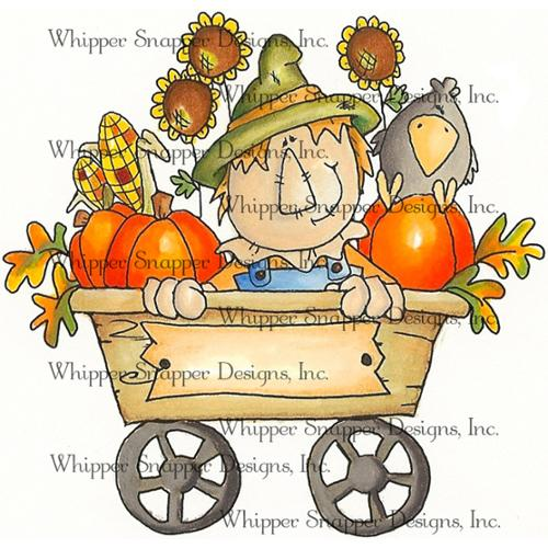 "Whipper Snapper Cling Stamp 4""X6""-Scarecrow Wagon"