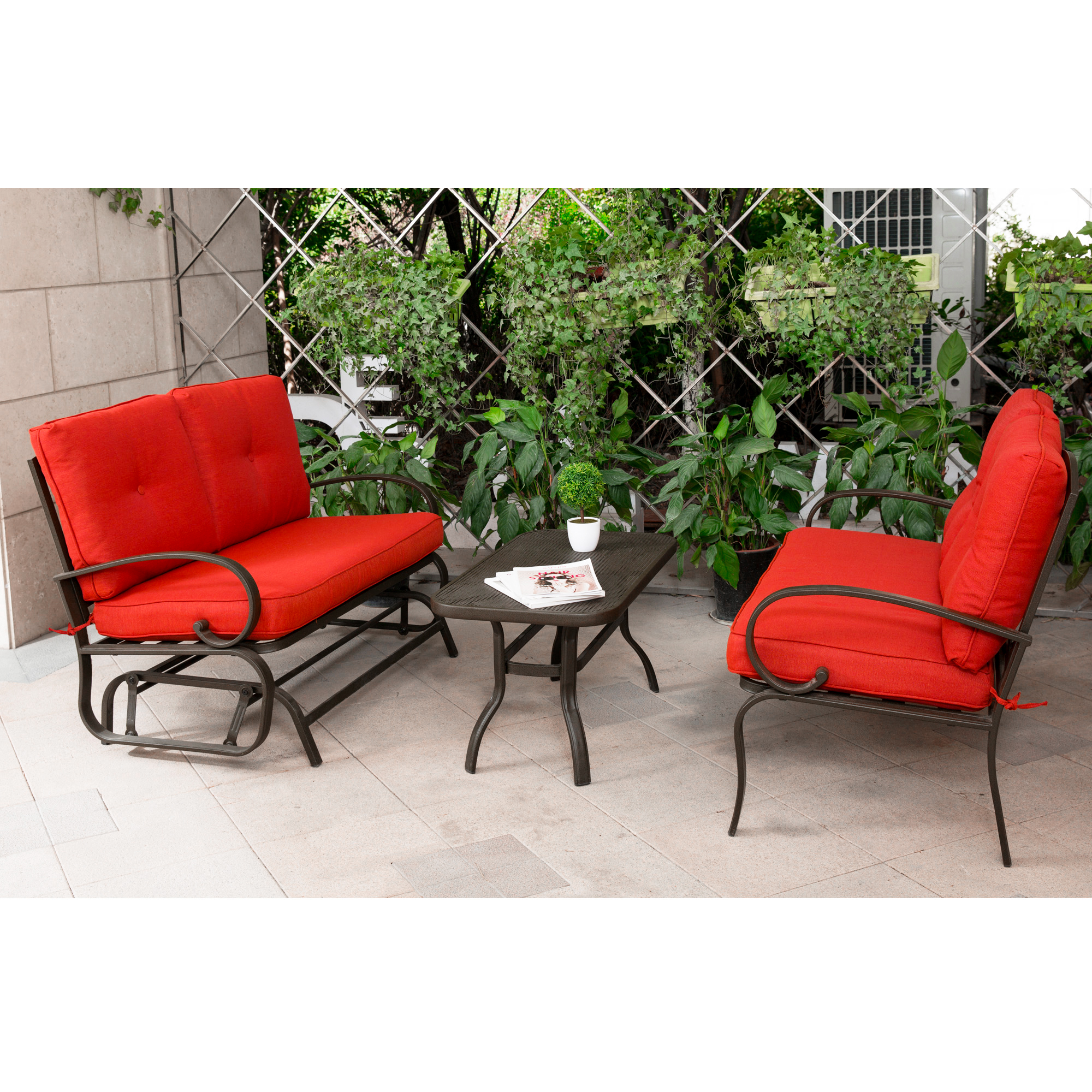 Cloud Mountain 3 Piece Cushioned Outdoor Furniture Garden Patio Conversation Set, Wrought Iron Coffee Table Loveseat Sofa 2 Chairs (Patio Conversation Set 4, Brick Red)