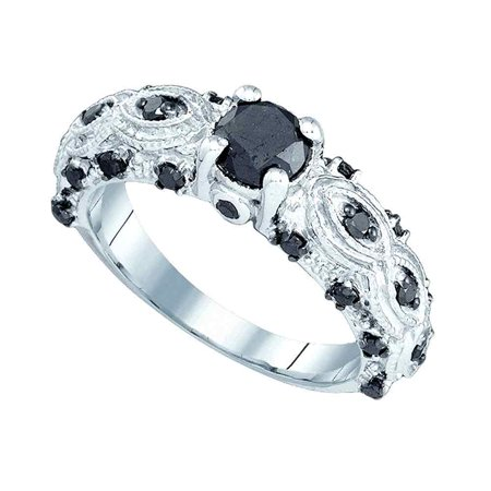 10Kt White Gold Womens Round Black Colored Diamond Solitaire Bridal Wedding Engagement Ring 1 00 Cttw