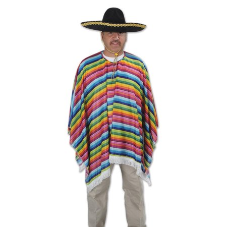 Fiesta Costume (Club Pack of 12 Multi-Colored Striped Southwestern Style Fiesta Serape Costume)