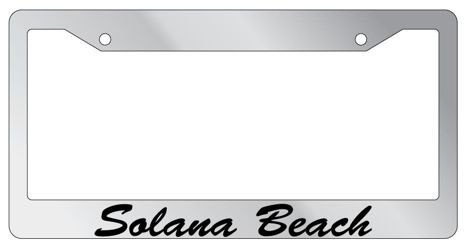 Glossy Black License Plate Frame SOLANA BEACH Auto Accessory