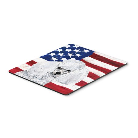 White Toy Poodle with American Flag USA Mouse Pad, Hot Pad or