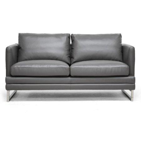 Astonishing Baxton Studio Dakota Leather Modern Loveseat Pewter Gray Creativecarmelina Interior Chair Design Creativecarmelinacom