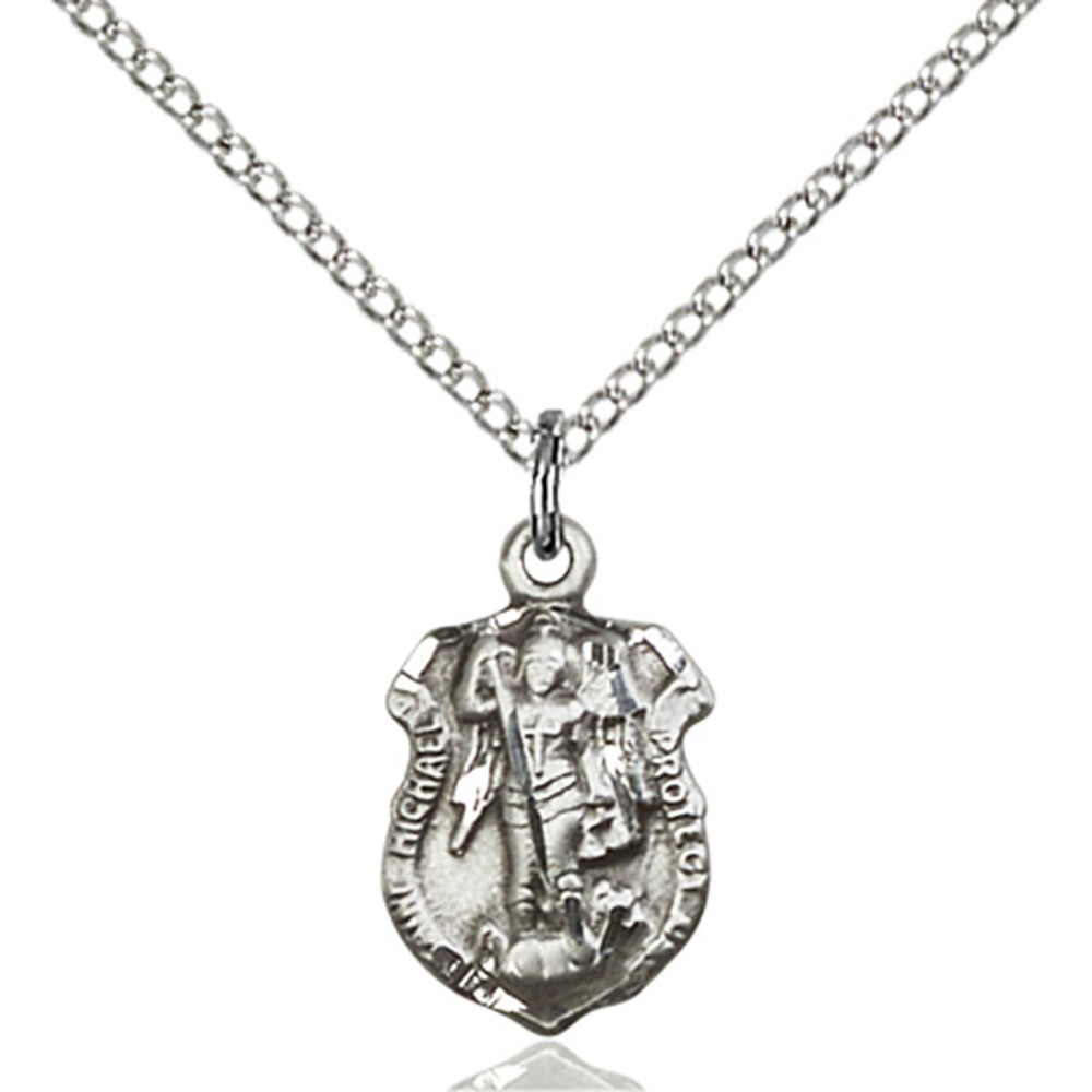 Sterling Silver St. Michael the Archangel Pendant 5/8 x 3/8 inches with Sterling Silver Lite Curb Chain